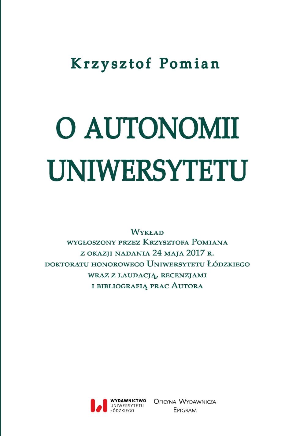 O autonomii uniwersytetu / Krzysztof Pomian okładka